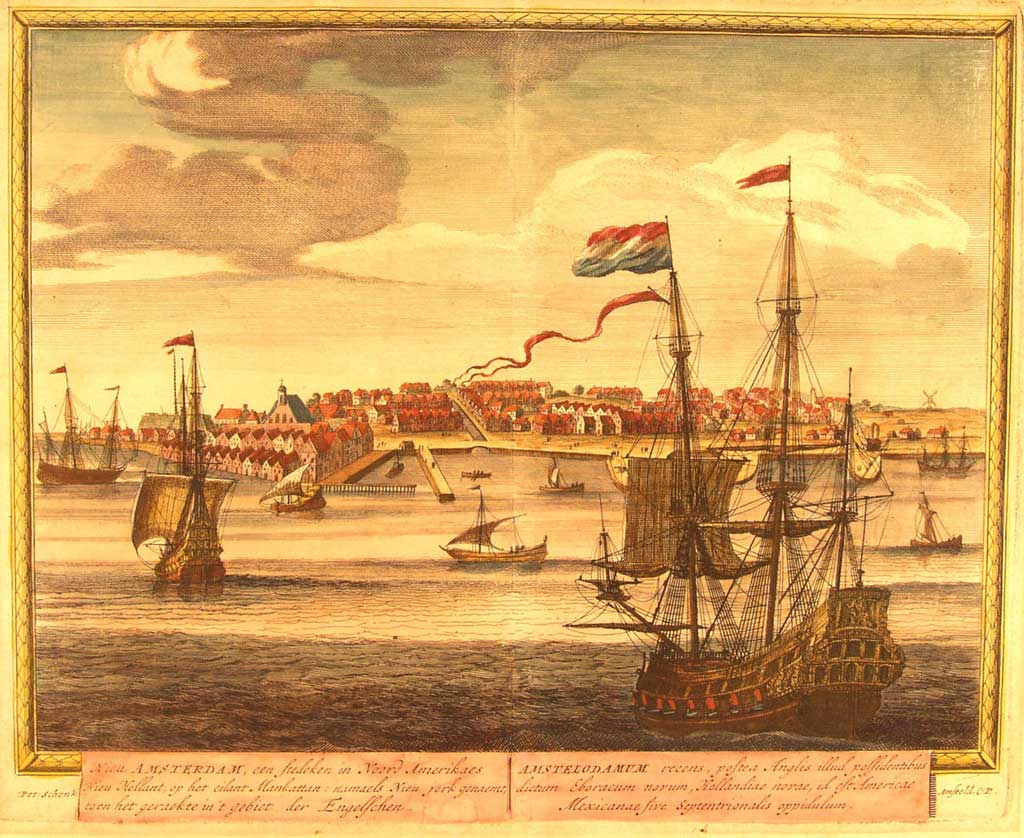 Painting of New Amsterdam (New York City) in 1671