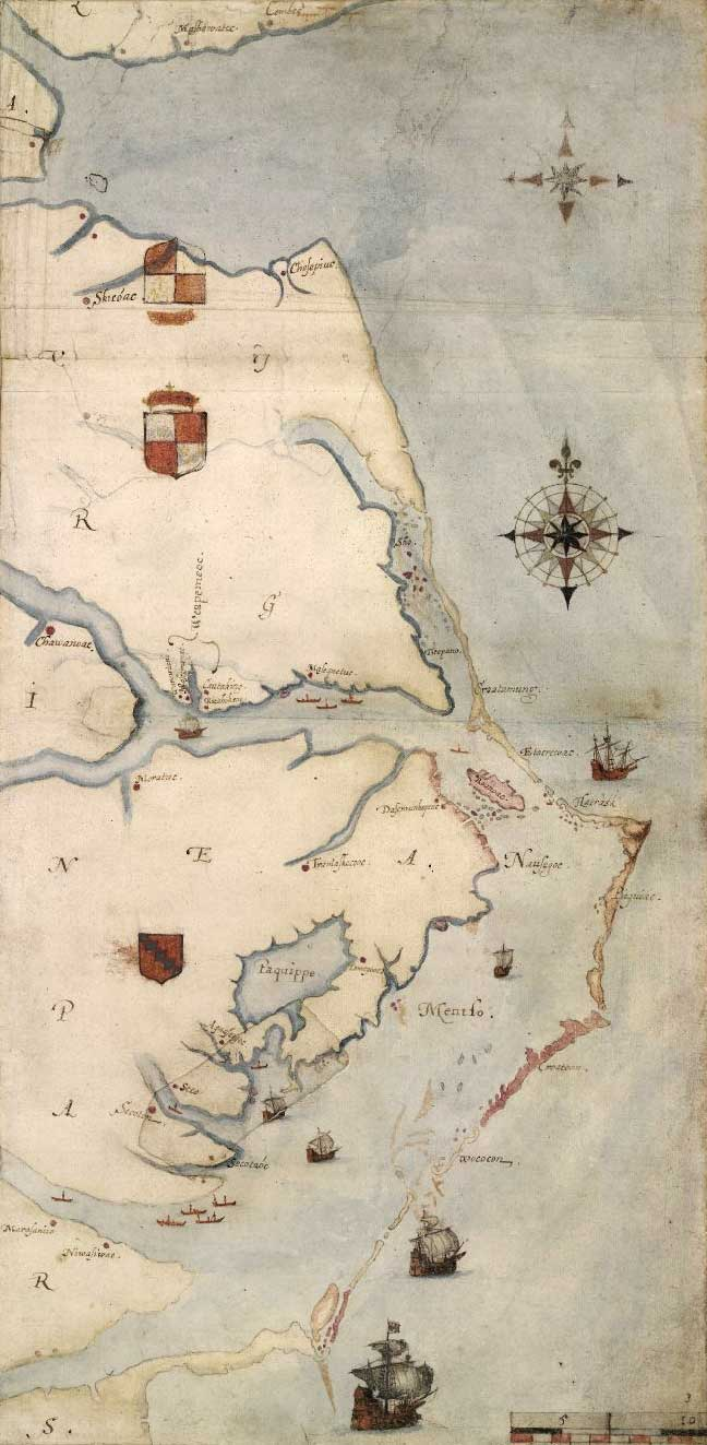 1585 map of the east coast of North America from the Chesapeake Bay to Cape Lookout by John White.