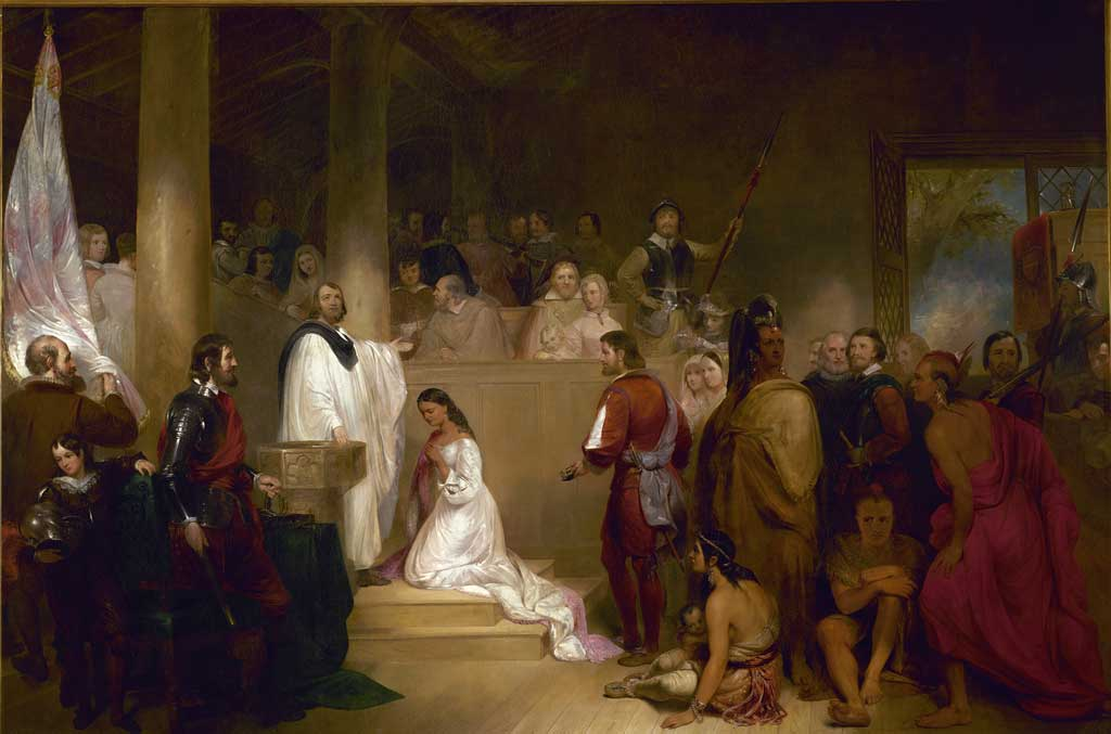 Artist John Gadsby Chapman depicts Pocahontas, wearing white, being baptized Rebecca by Anglican minister Alexander Whiteaker in Jamestown, Virginia