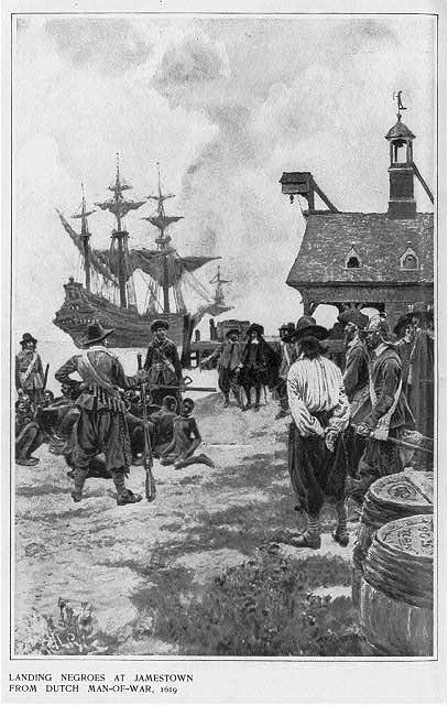 Illustration titled 'Landing Negroes at Jamestown from Dutch man-of-war, 1619'; signed H. Pyle in lower left hand corner