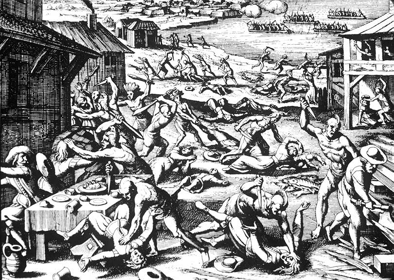 A 1628 woodcut by Matthaeus Merian published along with Theodore de Bry's earlier engravings in 1628 book on the New World. The engraving shows the March 22, 1622 massacre when Powhatan Indians attacked Jamestown and outlying Virginia settlements.