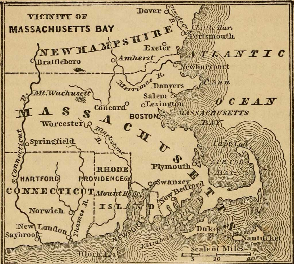 Map of Colonial New England and the Massachusetts Bay area, showing New Hampshire, Massachusetts, and Connecticut, and the Atlantic Ocean.