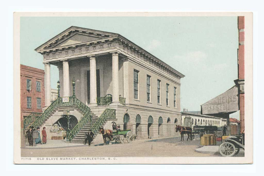 Picture postcard of the Old Slave Market in Charleston, SC
