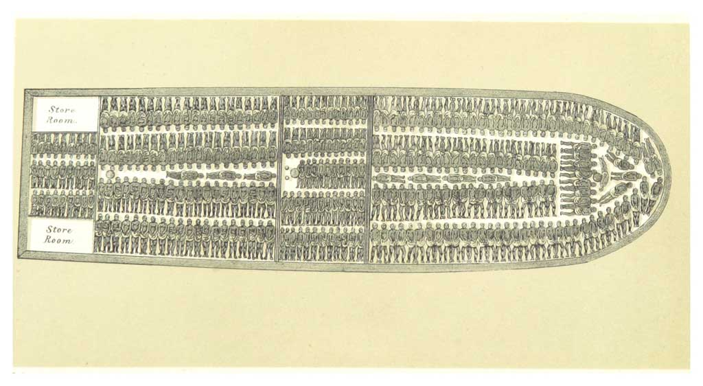 Illustration of a slave ship showing how slaves would have been positioned for passage