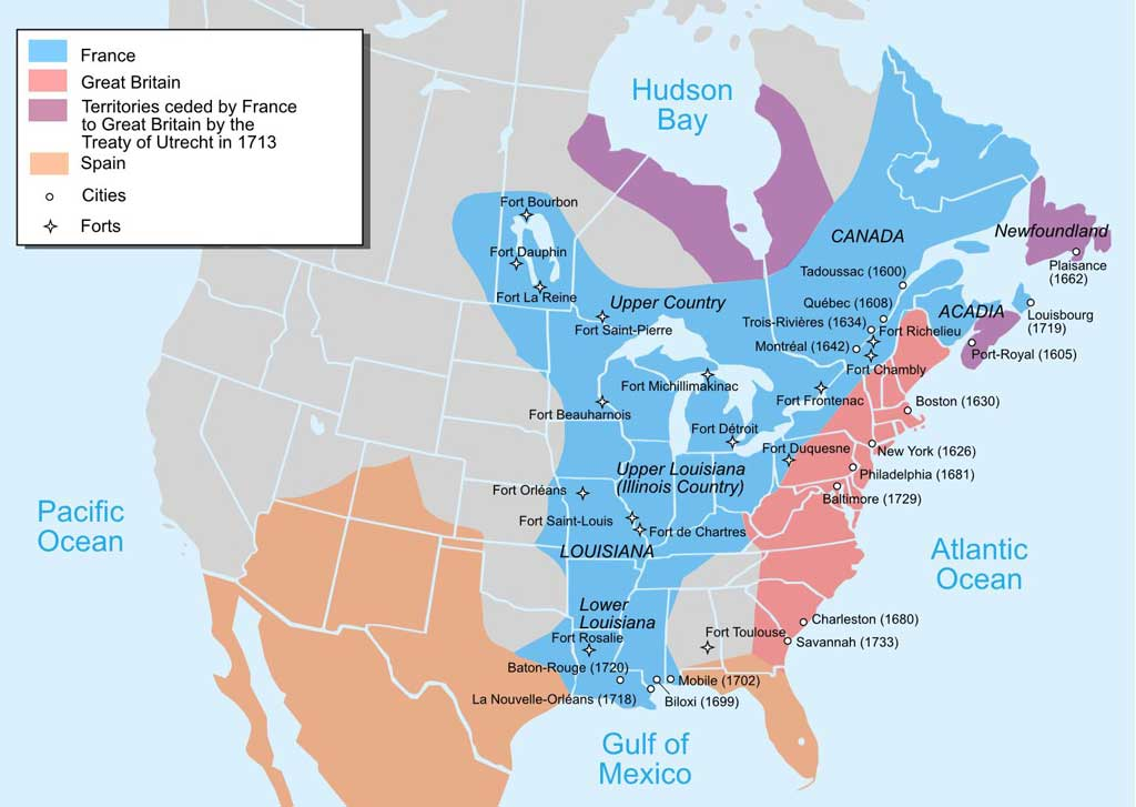 Map showing the 1750 possessions of Britain (pink and purple), France (blue), and Spain (orange) in contrast to the borders of contemporary Canada and the United States.