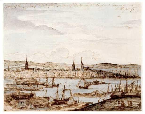 Art work by Richard Byron showing ships in Boston Harbor, 1764