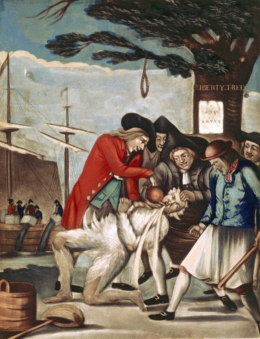 A depiction of the tarring and feathering of Commissioner of Customs John Malcolm, a Loyalist, by five Patriots on 5 January 1744 under the Liberty Tree in Boston, Massachusetts. Tea is also being poured into Malcolm's mouth.