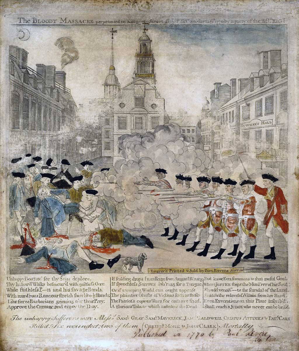 Engraved print showing a sensationalized portrayal of the skirmish, later to become known as the 'Boston Massacre,' between British soldiers and citizens of Boston on March 5, 1770. On the right a group of seven uniformed soldiers, on the signal of an officer, fire into a crowd of civilians at left. Three of the latter lie bleeding on the ground. Two other casualties have been lifted by the crowd. In the foreground is a dog; in the background are a row of houses, the First Church, and the Town House. Behind the British troops is another row of buildings including the Royal Custom House, which bears the sign 'Butcher's Hall.'