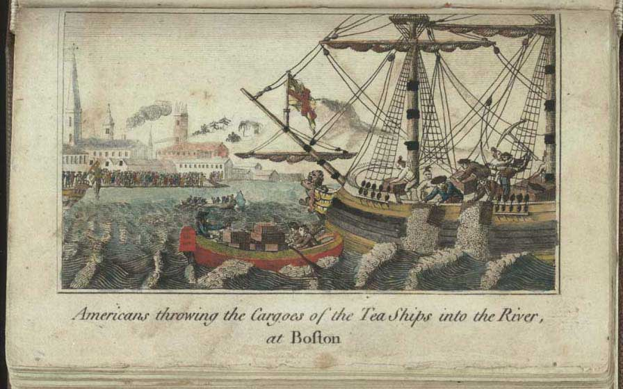 Americans at the Boston Tea Party throwing Cargoes of the Tea Ships into the river