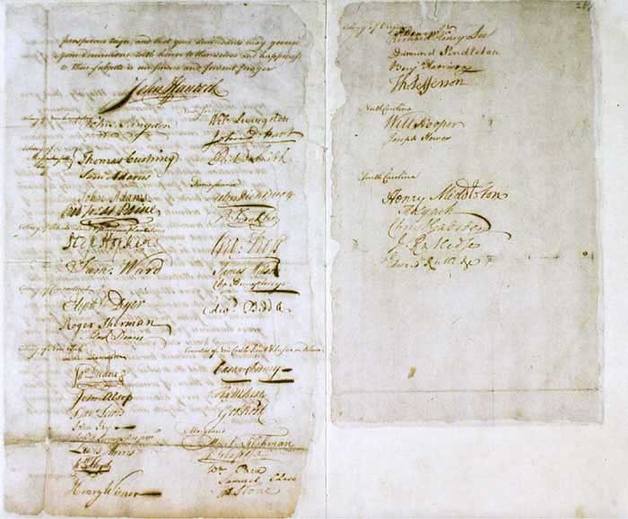 Scan of the original Olive Branch Petition with signatures