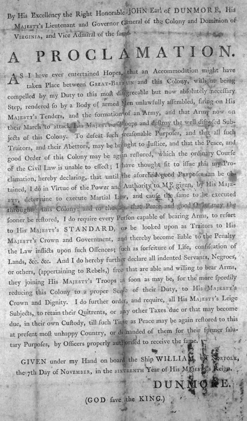 A copy of Dunmore's Proclamation, issued November 7, 1775