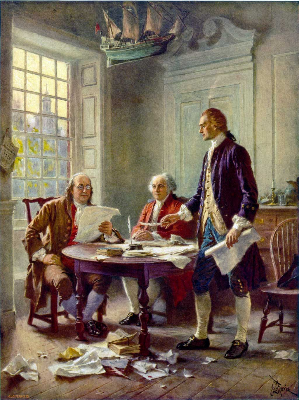 Thomas Jefferson (right), Benjamin Franklin (left), and John Adams (center) meet at Jefferson's lodgings, on the corner of Seventh and High (Market) streets in Philadelphia, to review a draft of the Declaration of Independence.