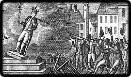 After a public reading of the Declaration of Independence on 9 July, 1776, crowd in New York City pulls down statue of King George III to be melted into bullets
