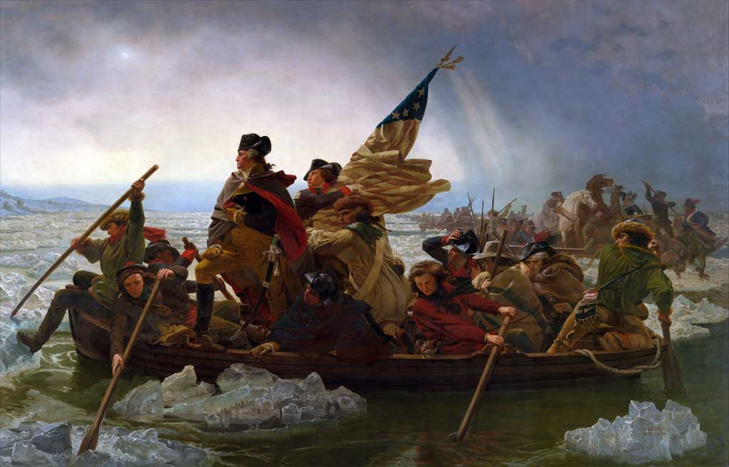George Washington and soldiers crossing the Delaware River in a boat