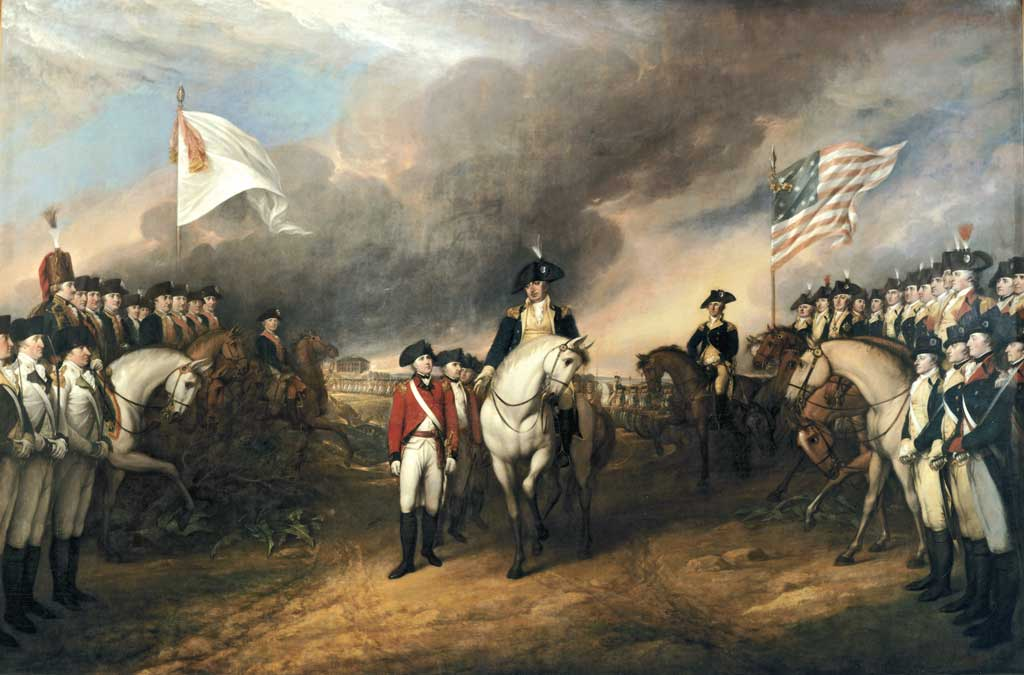 This painting depicts the forces of British Major General Charles Cornwallis, 1st Marquess Cornwallis (1738-1805) (who was not himself present at the surrender), surrendering to French and American forces after the Siege of Yorktown (September 28 - October 19, 1781) during the American Revolutionary War.