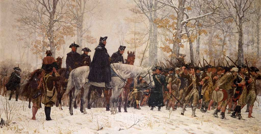 Painting depicting George Washington leading the Continental Army to Valley Forge in 1777