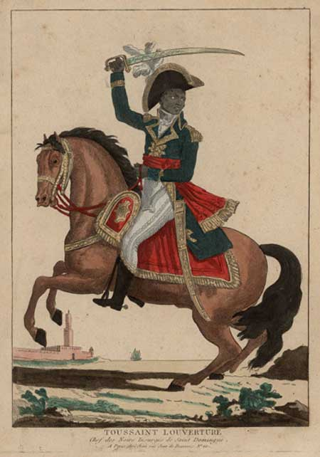 Toussaint L'Ouverture brandishing a sword while seated on a bucking horse