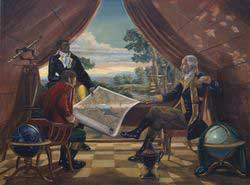 Benjamin Banneker working with George Washington on the design of Washington, DC. The two men are looking at a map.