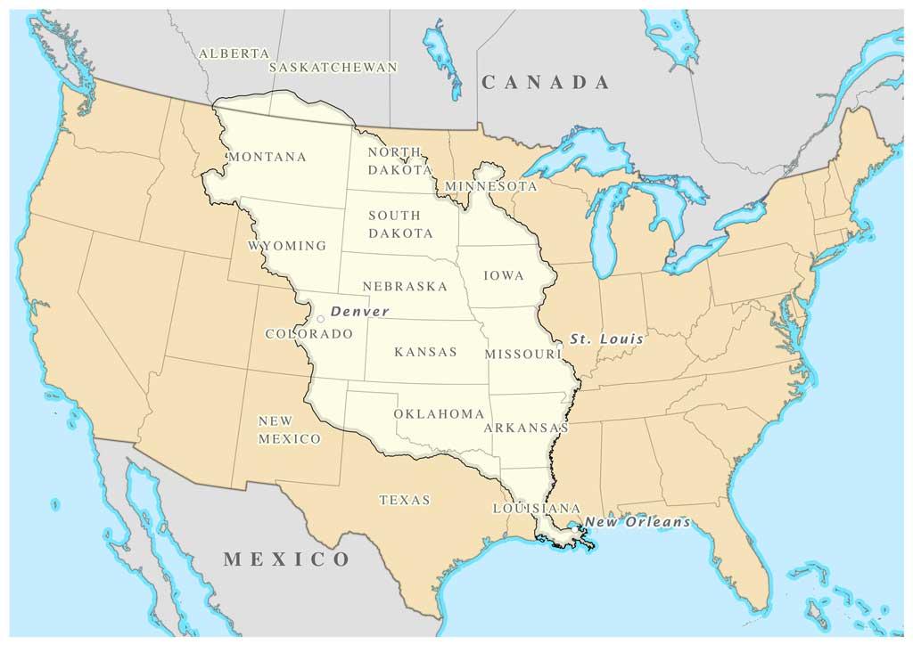 Map showing the area of the Louisiana Purchase. The states of Montana, North Dakota, South Dakota, Wyoming, Iowa, Nebraska, Colorado, Kansas, Missouri, Oklahoma, Arkansas, and Louisiana are highlighted, along with portions of Alberta and Saskatchewan, Canada.
