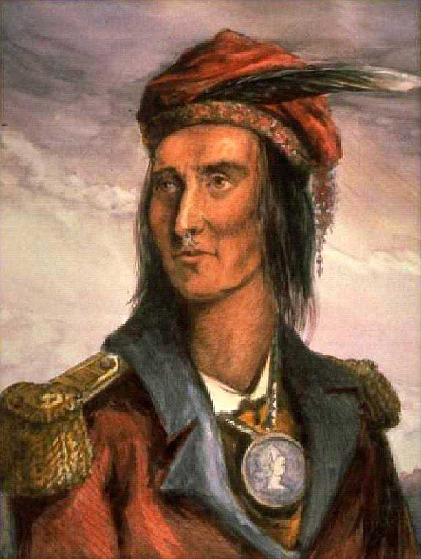 Portrait version of Lossing's engraving (in wood) of Shawnee chief Tecumseh with water colors on platinum print