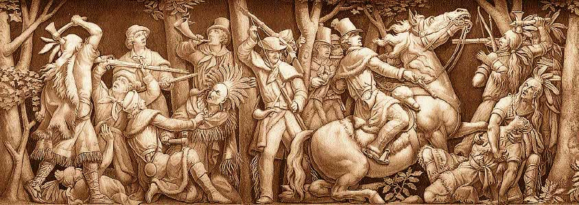 Part of a Frieze of the Rotunda in the U.S. Capitol, 'Death of Tecumseh' — Tecumseh, a brilliant Indian chief, warrior, and orator, is shown being fatally shot by Colonel Johnson at the Battle of the Thames in Upper Canada during the War of 1812.