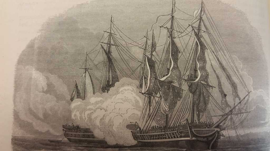 The USS Chesapeake with smoke billowing from the center