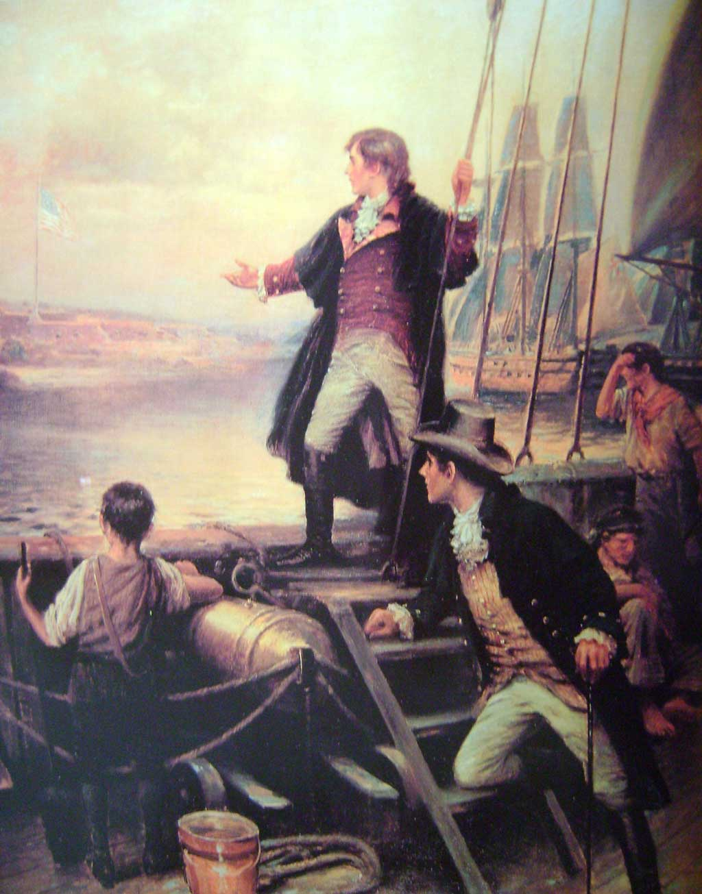 Francis Scott Key standing on the boat, with right arm stretched out toward the United States flag flying over Fort McHenry, Baltimore, Maryland.