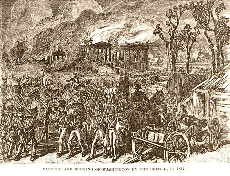 Print showing the capture and burning of Washington by the British in 1814