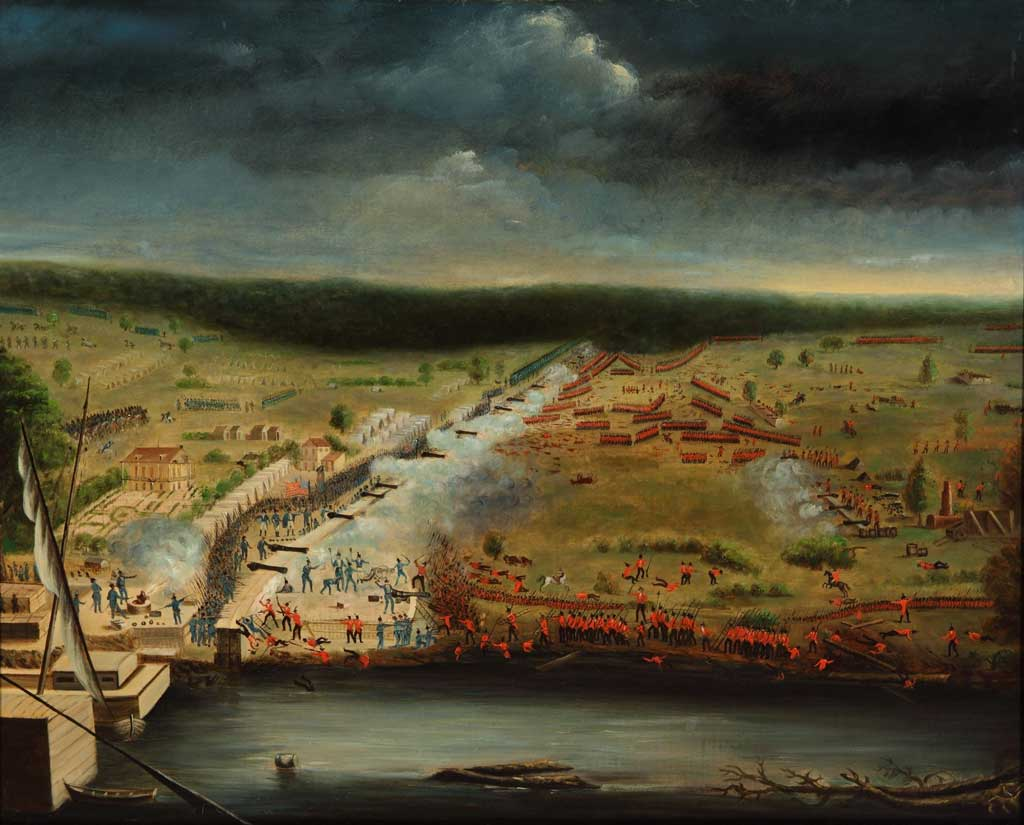 Battle scene of Battle of New Orleans showing troops and cannons with a river in the foreground