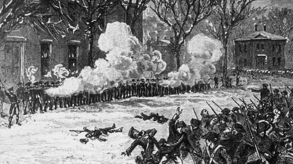 Battle scene as Shays' troops are repulsed from the armory at Springfield, Massachusetts in early 1787