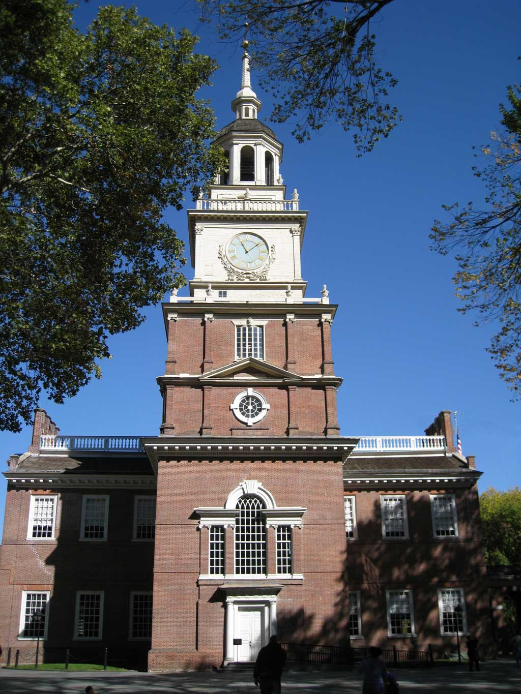 The front of the clock tower at Independence Hall