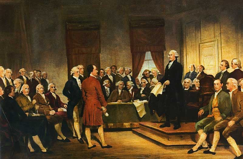 George Washington speaking at the Constitutional Convention of 1787, signing of the U.S. Constitution.