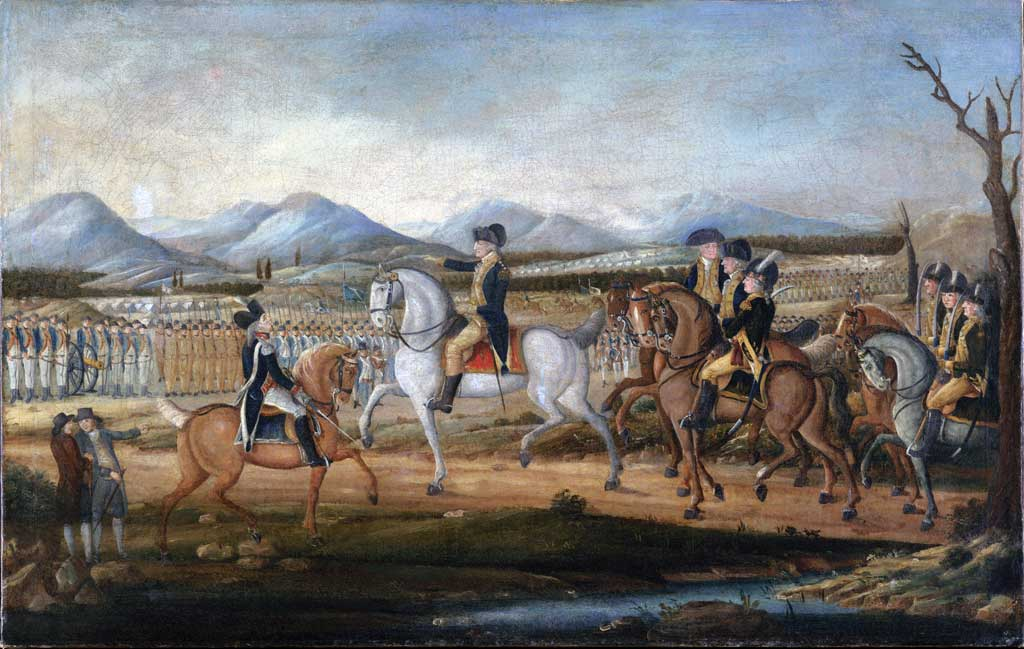 This painting depicts George Washington and his troops near Fort Cumberland, Maryland, before their march to suppress the Whiskey Rebellion in western Pennsylvania.