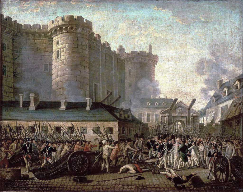 Storming of the Bastille and arrest of the Governor M. de Launay, July 14, 1789.