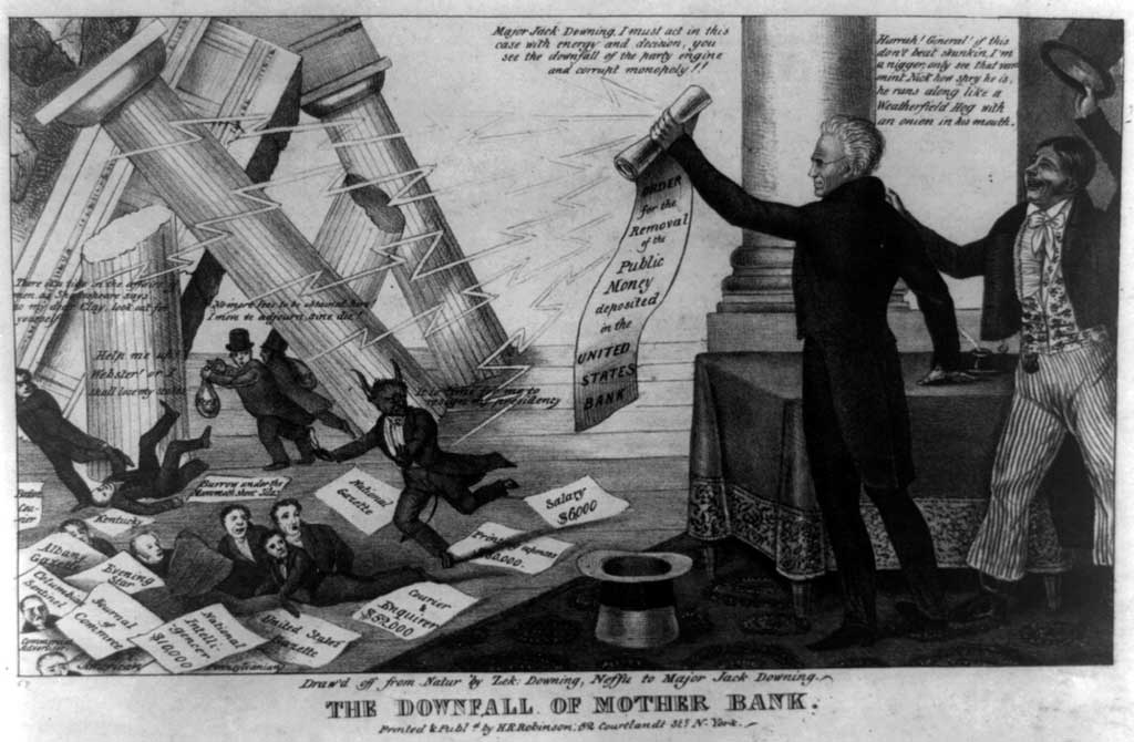 Political cartoon titled 'The Fall of Mother Bank.' Shows two official looking men with a proclamation, and smaller men falling down amongst signs and falling pillars.