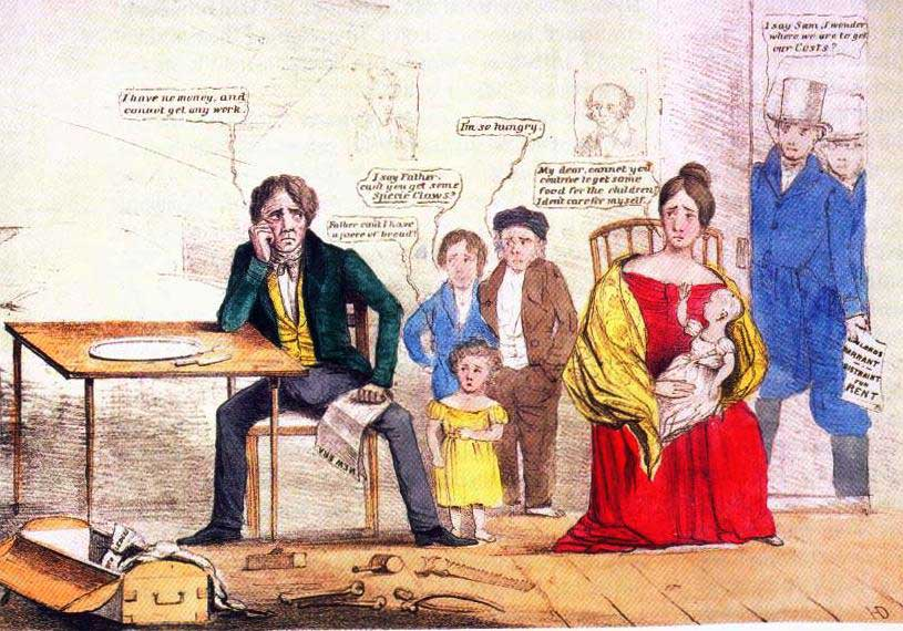 Poster showing family scene. Man sitting at empty table says 'I have no money and cannot get any work.' He is surrounded by children, a wife and baby.