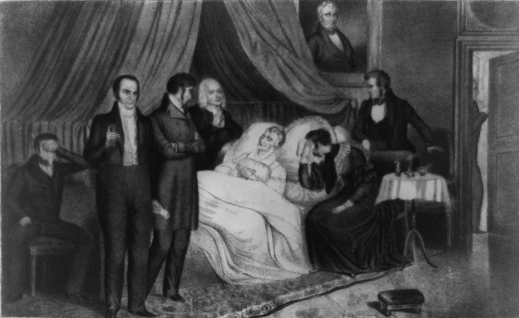 William Henry Harrison on his deathbed with Rev. Hawley, a physician, niece, and nephew in attendance, as well as Thomas Ewing, Secretary of Treasury, Daniel Webster, Secretary of State, and Francis Granger (waiting at the door), Postmaster General.