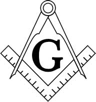 The Masonic symbol which shows a square and a compass with the letter G in the center