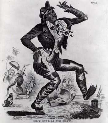 Picture from 1832 Playbill of Thomas D. Rice as 'Jim Crow' showing black man in tattered clothing dancing