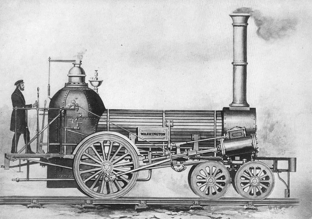 Picture of the 1836 4-2-0 steam locomotive 'George Washington' and engineer