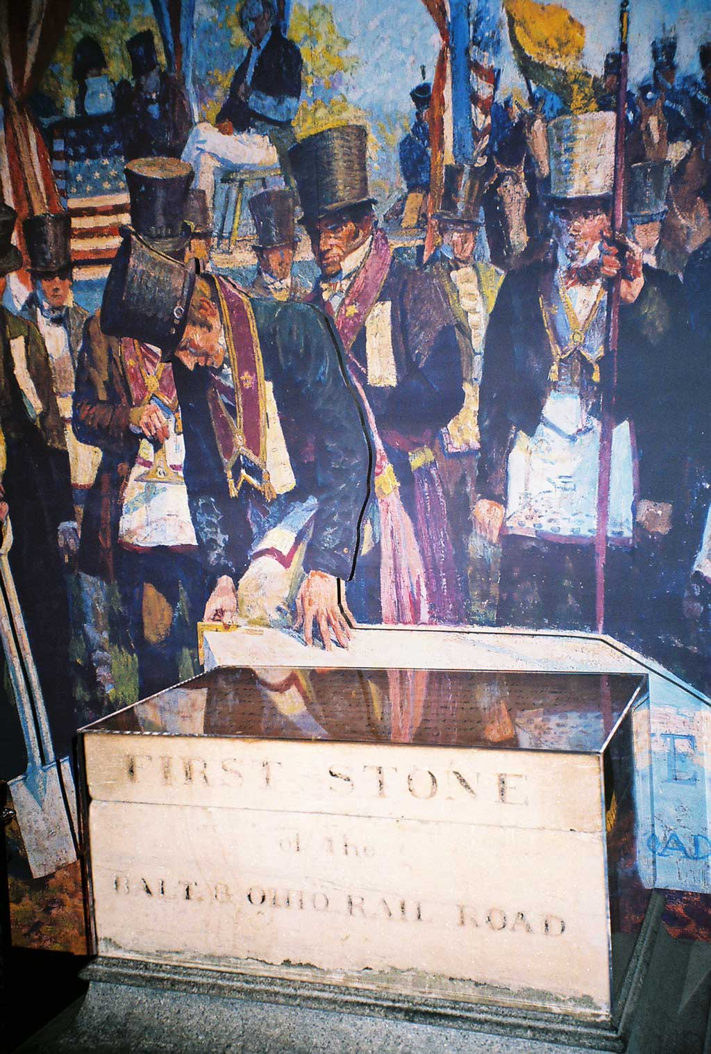 Cornerstone of the Baltimore and Ohio Railroad, being laid on July 4, 1828 by Charles Carroll of Carrollton, last surviving signer of the Declaration of Independence.