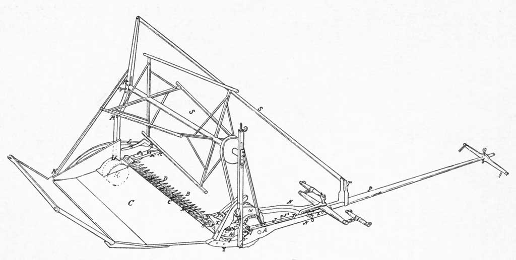 Sketch from 1845 patent of an improved grain reaper by Cyrus Hall McCormick.