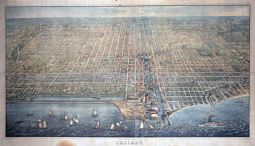 Drawing of a Bird's Eye View of Chicago showing water and boats in foreground and blocks of buildings behind