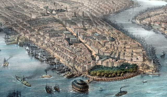 Picture of New York City in 1850 showing boats and water in the foreground and buildings behind