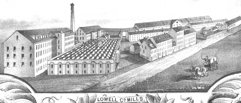 Plan of the city of Lowell, Massachusetts showing multiple long, multi-story buildings