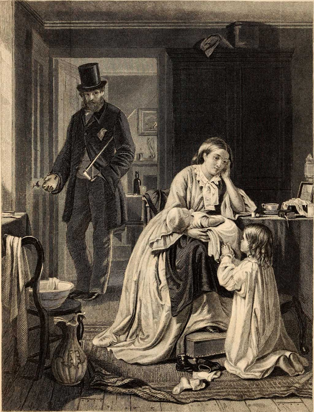 Household scene showing husband walking out the door, while woman holds baby and attends to small girl