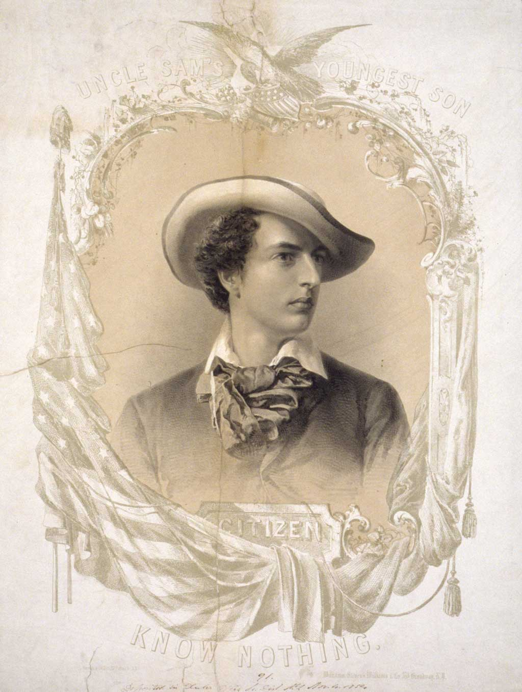 A bust portrait of a young man representing the nativist ideal of the Know Nothing party. He wears a bold tie and a fedora-type hat tilted at a rakish angle. The portrait is framed by intricate carving and scrollwork surmounted by an eagle with a shield, and is draped by an American flag. Behind the eagle is a gleaming star. The flag hangs from a staff at left which has a liberty cap on its end