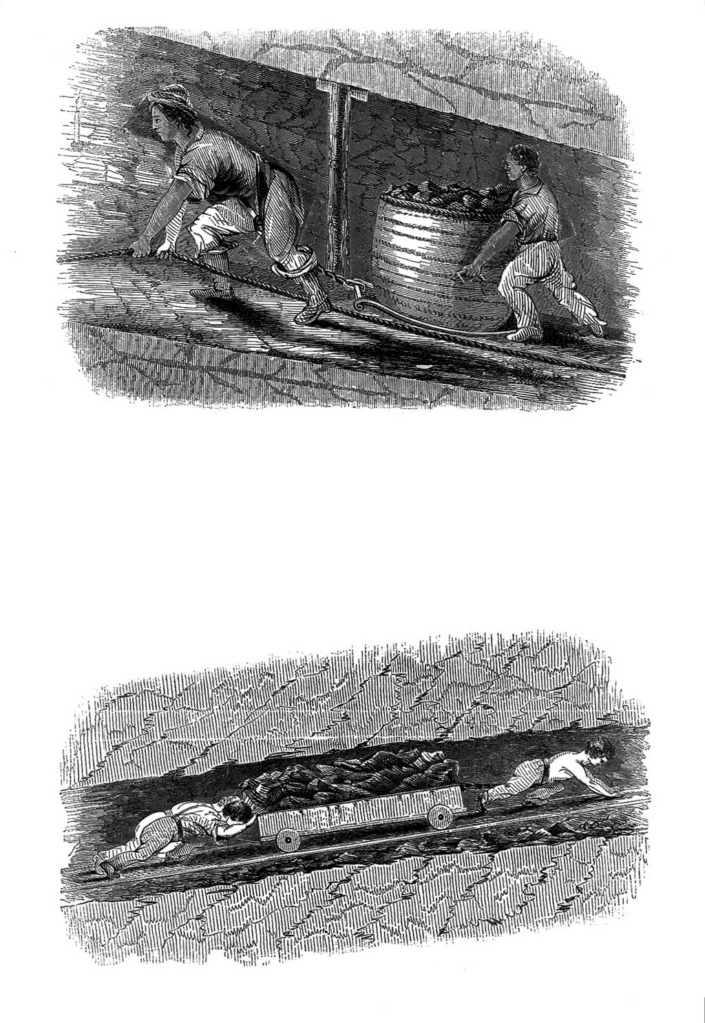 Illustrations of children working in mines, pushing coal wagons through narrow tunnels