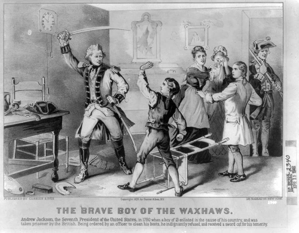 'The Brave Boy of the Waxhaws'. Depicts incident in the childhood of Andrew Jackson, showing the lad standing up to British soldier.