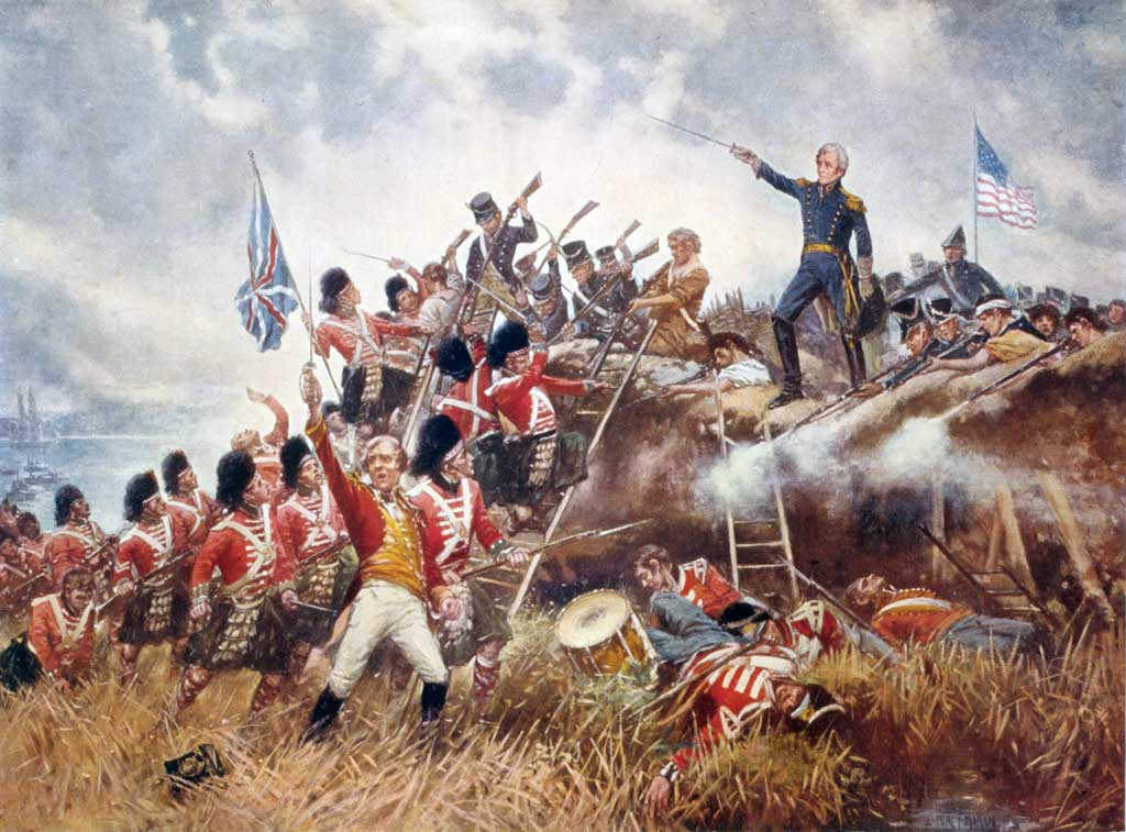 The Battle of New Orleans. General Andrew Jackson stands on the parapet of his makeshift defenses as his troops repulse attacking Highlanders.